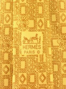 Men's Authentic Hermes Paris Yellow Geometric Pure Silk Neck Tie Made in France