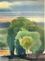 """Expressionist Aquarell Papier """"Wald"""" 24 x 18 cm"""
