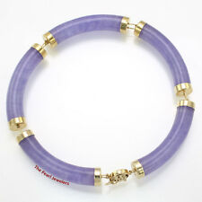 5 Segments Lavender Jade Bracelet 14k Yellow Gold with Oriental Design Clasp TPJ