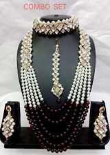 Indian Fashion Diwali Bridal Wedding Pearl Jewelry Gold Necklace Earring Set