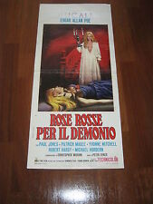 LOCANDINA HORROR ROSE ROSSE PER IL DEMONIO EDGAR ALLAN POE PAUL JONES,P.SYKES