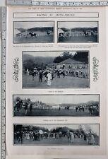 1912 India Print Racing At Ootacamund Paddock Gymkhana Enclosure Major Denistoun
