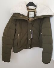 ZARA KHAKI SHORT ANORAK PUFFER COAT/JACKET WITH FLEECE COLLAR BNWT SIZE  L