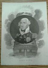 American Revolutionary war Admiral Lord Howe. Original Antique steel Engraving