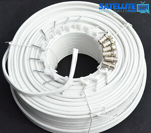 10m White Twin Shotgun Satellite Coaxial Extension Cable Lead For Sky Plus HD TV