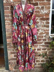 Ladies hippie/boho/alternative Long Kaftan Kimono Dressing Gown free size