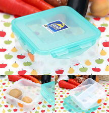 Airtight Lock Square Food Container with Divider Plastic Fruit Storage Lunch Box