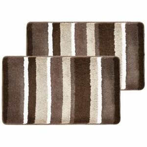 mDesign Soft Striped Microfiber Non-Slip Spa Mat - 2 Pack - Brown