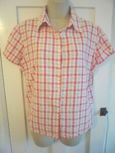 Ladies size 16 George pink mix check summer blouse shirt top short sleeves