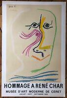 Picasso affiche lithographie 1969 Mourlot hommage à René Char Musée de Ceret