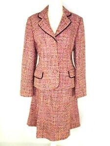 Vintage Neimen Marcus Exclusive Women's Skirt US 10 Pink Tweed 3-Btn Pleat Skirt