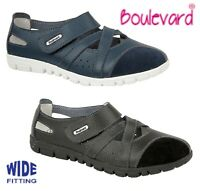 LADIES Leather Wide EEE Fit Touch Fastening Shoes  Black Navy Size 3 4 5 6 7 8 9