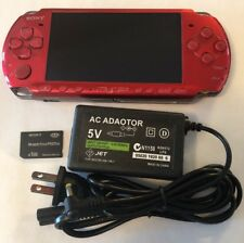VIBRANT RED Sony PSP 3000 System w/ Charger & Memory Card Bundle TESTED Import
