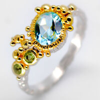 925 Sterling Thai Silver jewelry Natural Blue Topaz and peridot RVS10 Vintage