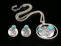 rope round turquoise blue imitated pendant silver plated necklace earrings N71