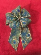 """5"""" Wide Two 2 Turquiose Peacock Wired Edge Bow~For Gifts, Christmas, Crafts"""