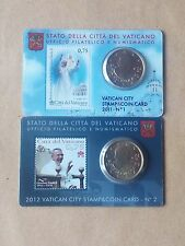 2 Coin card vatican 0,50 euro cents  ( fdc bu kms) 2011 et 2012 avec timbre 1/2