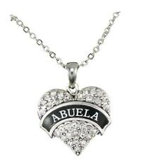 Abuela Clear Crystal Heart Pendant Silver Chain Necklace Grandmother Gift