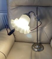 1930s Desk Lamp 1920s Bankers Adjustable PAT Tested Working Antique Table Chrome