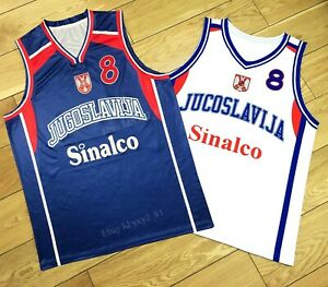 Custom Retro Peja Stojaković #8 Serbia Jugoslavija Basketball Jersey Any Names