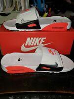 New Nike Air Max 90 Slides Infrared Pure Platinum Men's Size 9 BQ4635 101