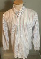 Brooks Brothers Est 1818 Striped Men's Non Iron Button Down Shirt Size L Large