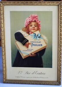 Rare Chromo lithographie affiche Chocolat Poulain Illustrateur Alphonse Marx