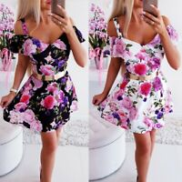 Women's Sexy Slim V Neck Dress Lady Bodycon Short Sleeve Print Ball Gown Dresses
