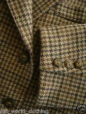 RICHARDS Beige / Green Houndstooth Wool Blend Tweed Skirt-Suit M / UK 12 / EU 38