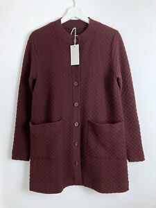 Cos NWT Women's Brown Waffle Long Sleeve Button Up Coat Size S RRP £79