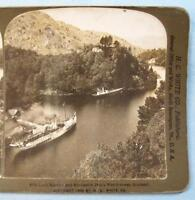 Stereoview H C White Co Loch Katrine And Rhoderich Dhus Watchtower Scotland (O)