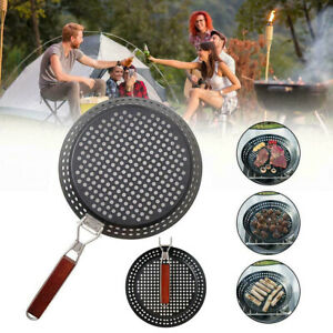 30.5cm Non Stick Barbecue BBQ Pizza Pan Baking Tray Vent Holes Folding Handle