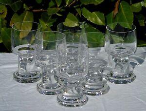 Bayel? Service de 6 verres à vin blanc en cristal soufflé. 1950/70