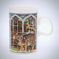 Dunoon Stoneware Christmas Mug Cats Tabby Siamese Cat 8 Oz Window UK Vintage