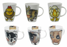 Roy Kirkham Set of 6 Please Shut The Gate Mugs Horse Duck Chicken Pig Cow Sheep