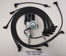 DODGE 440 1959-1972 BLACK Small Female Cap HEI Distributor & Spark Plug Wires