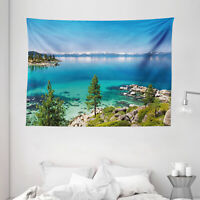 Blue Tapestry Tranquil Tahoe Shoreline Print Wall Hanging Decor 80Wx60L Inches