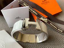 Classic Hermes Clic Clac Bracelet WHITE Enamel SILVER Hardware PM Bangle WIDE