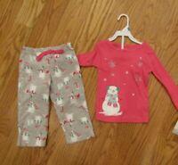 Carter's Toddler Girls 2 Piece Fleece Pajama Set Size 24 Mo Pink Gray Snowmen