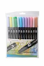 Tombow Brush Pen 12 Colour PASTEL SET. Double Ended Artist & Craft Marker Pens