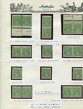 1' GREEN SINGLE WM FULL ALBUM PAGE OF MINT VARIETIES