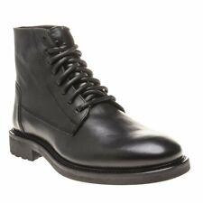New Mens SOLE Black Halton Leather Boots Lace Up