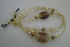 Spectacle/Glasses/Eyewear Beaded Chain  - Bronze & Gold Art Glass