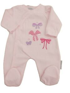 BNWT Baby Girls pink velour Bows all in one baby grow sleepsuit NB  0-3 3-6 mths