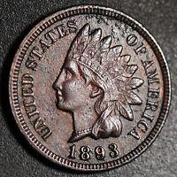1893 INDIAN HEAD CENT -With LIBERTY & Near 4 DIAMONDS - AU UNC Details