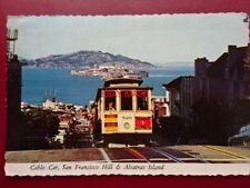 POSTCARD USA SAN FRANCISCO CABLE CAR NO 520 & ALCATRAZ ISLAND