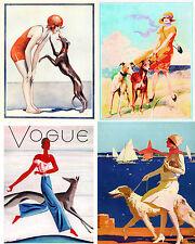 Vintage Beach Greyhound Dog Art Notecards Set of 4 w/env