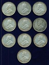 AUSTRALIA  GEORGE V  1936  1 FLORIN  SILVER COINS, VF to XF, GROUP LOT OF (10)