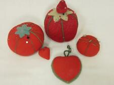 *Vintage and Antique Pin Cushions Tomato, Strawberry, Heart Sewing Accessory Lot