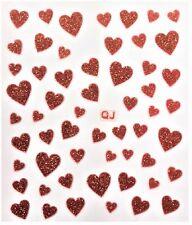 Accessoire ongles: nail art - Stickers autocollants - motifs coeurs rouges